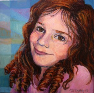 Portrait of Annie, acrylic on canvas, 30x30cm.