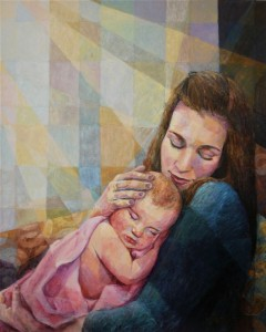 Maternity, Portrait of Rachel Ann Solimani and her daughter, acrylic on canvas, 100x80cm