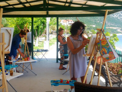 1-Out-door-painting-at-Poros-bay