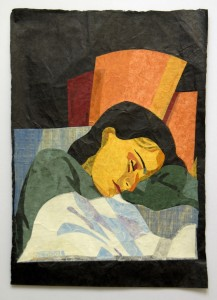 Sleeping at the sunlight , 70x50cm, collages with handmade paper.