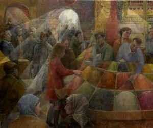 Spice market, acrylics, mixed media on canvas, 150x180cm