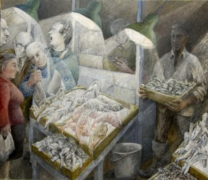 Fish market, acrylics, mixed media on canvas, 176x203cm