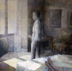 Thinking about Vermeer, acrylics, mixed media on canvas, 150x150cm