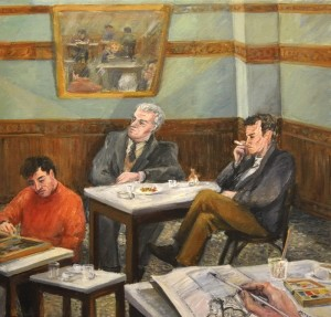Reading at the coffee shop, acrylic on canvas, 60x60cm.