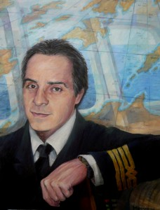 Portrait of Captain G. Petratos, acrylic on canvas, 60x80cm.