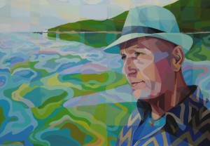 Portrait of D. Batistatos-The sea in his soul, acrylic on canvas, 70x100cm