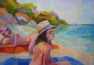 Sun Bathing, acrylic on canvas 70x100cm