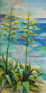 Athanatoi - Agaves by the seashore, acrylic on canvas, 150x75cm
