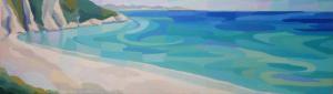 Myrtos, acrylic on canvas, 30x110cm