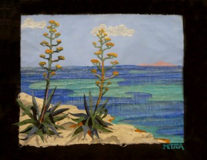 Agaves by the seashore,  50x70cm, collages with handmade paper