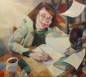 Poet Katerina Angellaki Rooke, 100x110cm, acrylic on canvas