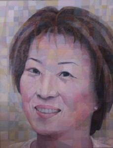 Portrait of Harumi Jo,    acrylics, mixed media on canvas, 130x100cm